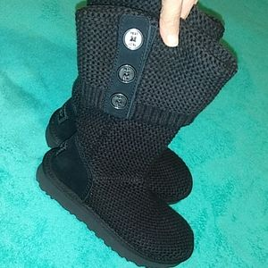 UGG BOOTS WOMEN SIZE 5 CARDY CLASSIC KNIT BLACK